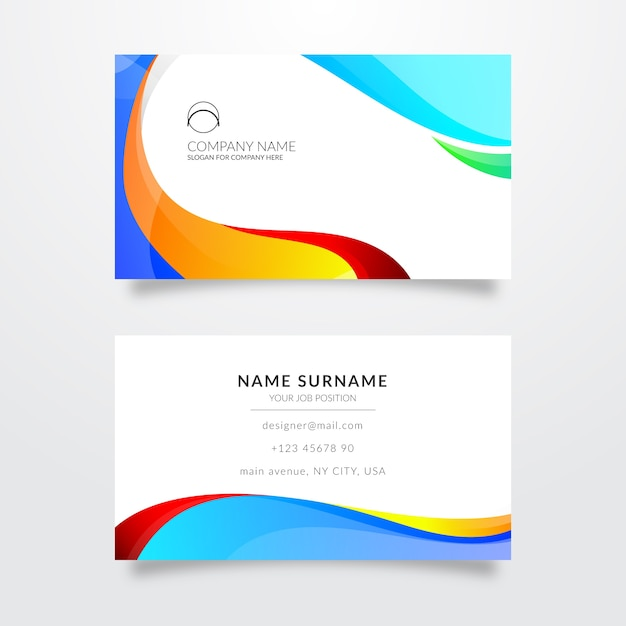 Template for business card with colors Free Vector