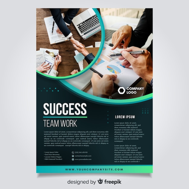 Template business flyer with image Free Vector