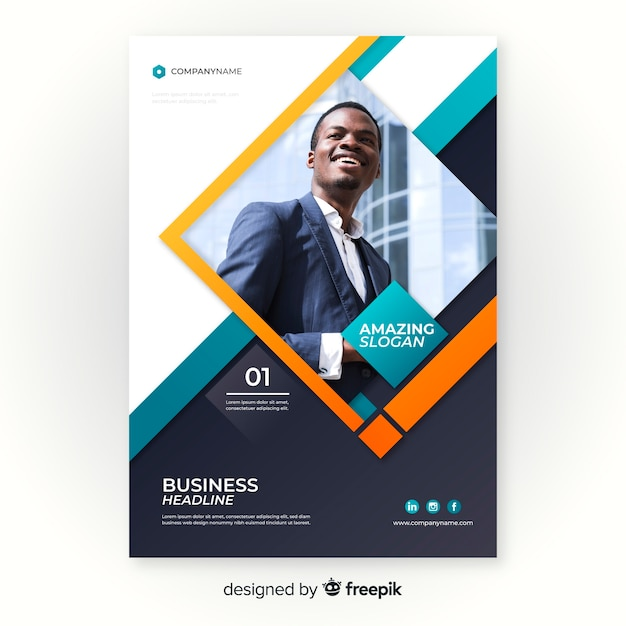 Template business flyer with photo Free Vector