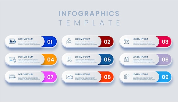 Template business infographic with 9 options illustration Premium Vector