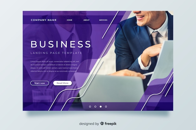 Template business landing page with image Free Vector