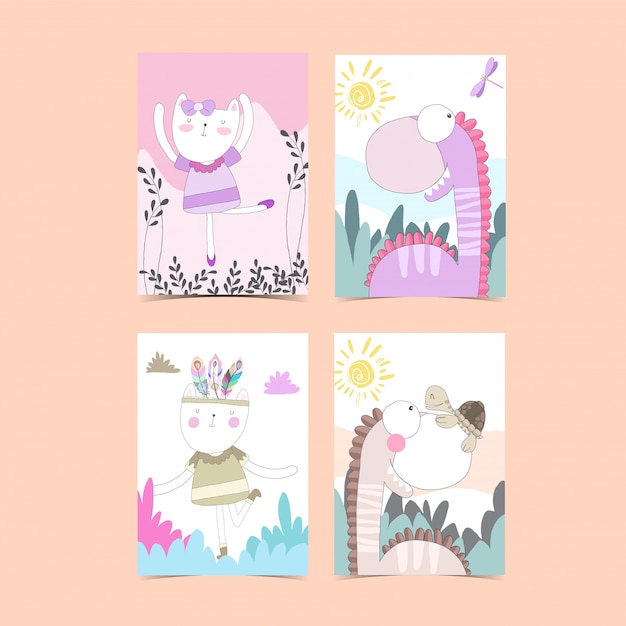 Template card collection for baby shower Premium Vector