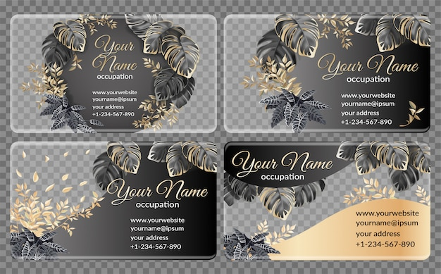Template cards with dark and gold tropical leaves Premium Vector