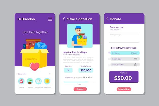 Template for charity app interface Premium Vector