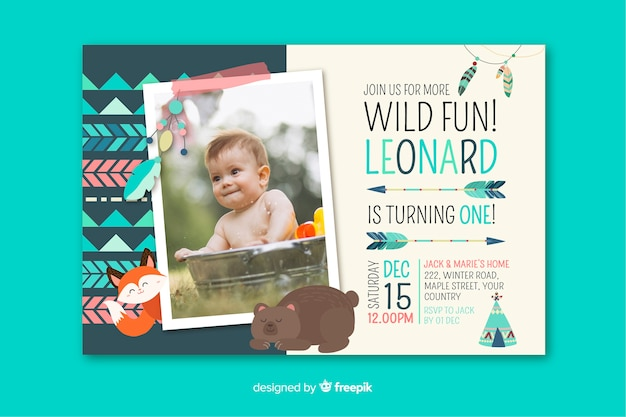 Template children birthday invitation with image Free Vector