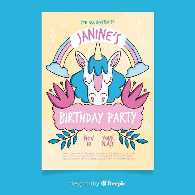 Template children birthday invitation Free Vector