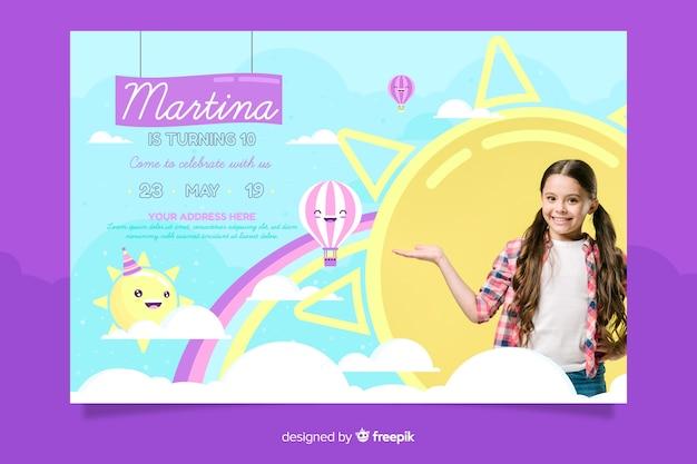 Template children birthday invitation Free Vector