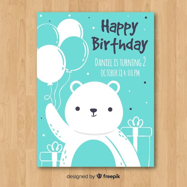 Template for children's birthday invitation Free Vector