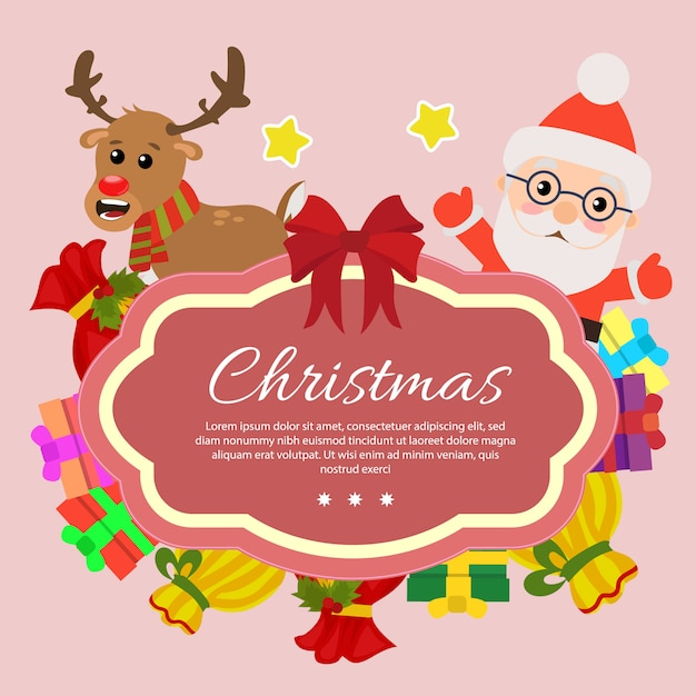 Template chirstmas with santa claus gift sacks Premium Vector