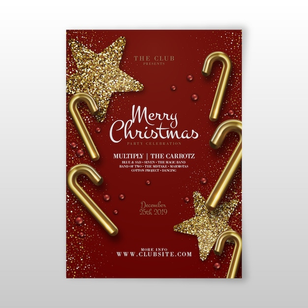 Template christmas party realistic flyer Free Vector