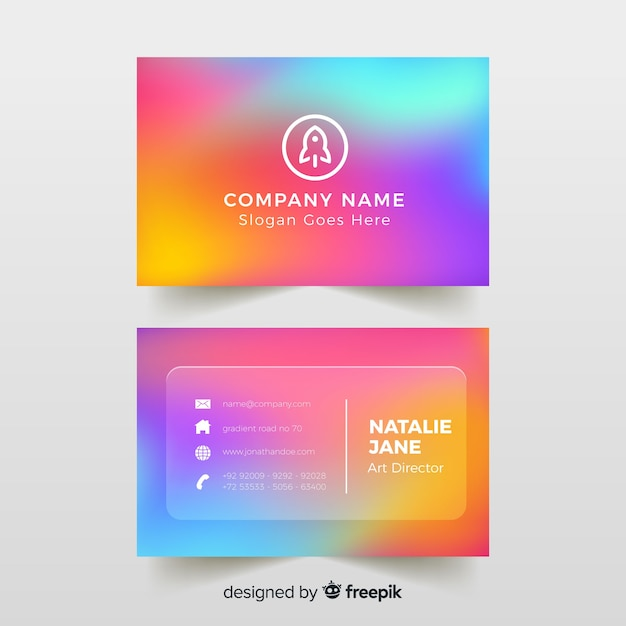 Template colorful gradient business card Free Vector
