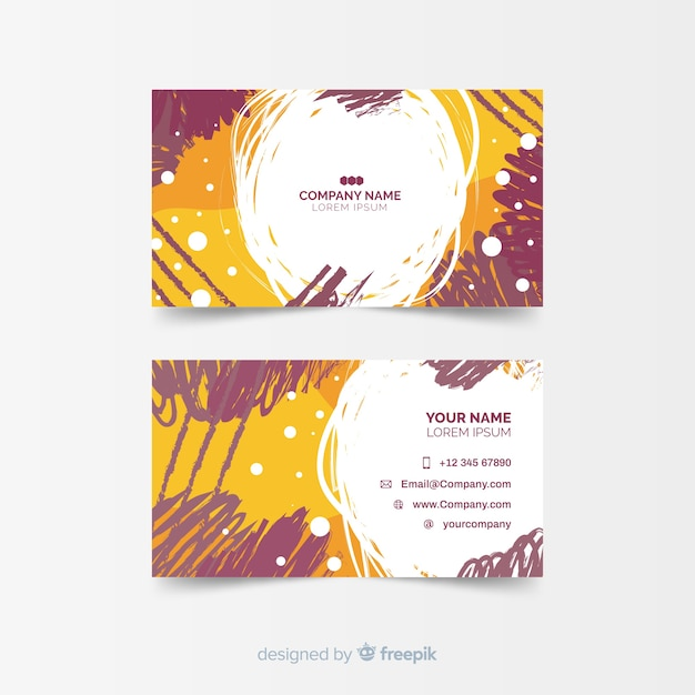 Template for colorful hand painted business card Free Vector