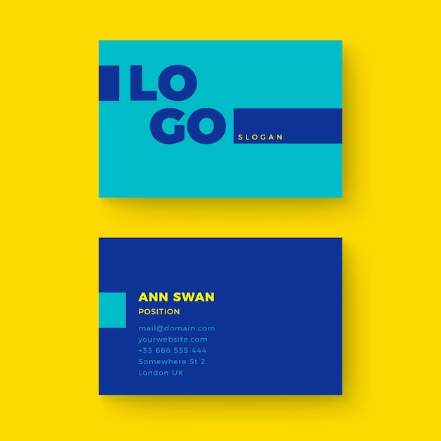 Template colorful minimal business card Free Vector