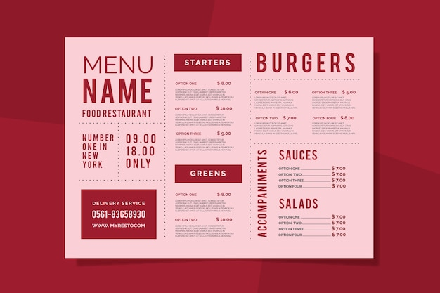 Template colorful restaurant menu Free Vector
