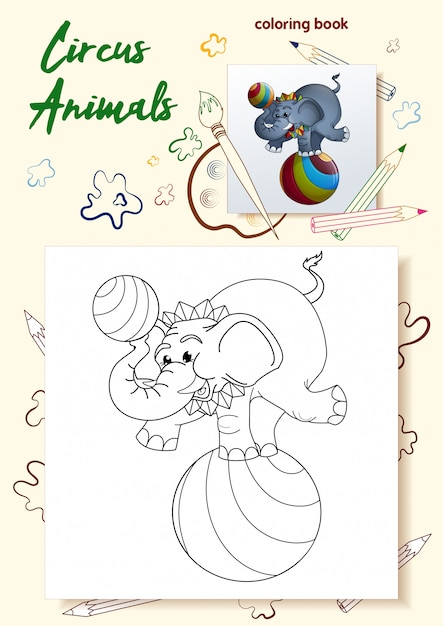 Template for coloring books wild animals in the circus ...