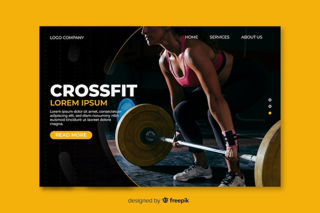 Template concept for sport landing page Free Vector
