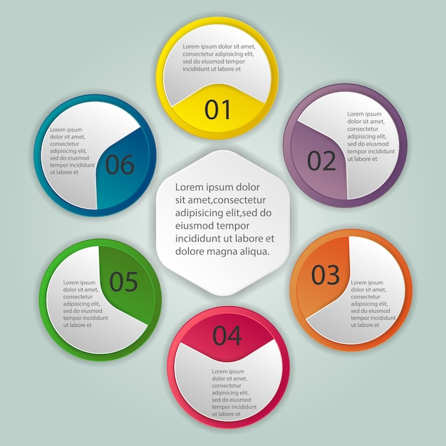 Template for cycle diagram, graph, presentation and round chart Premium Vector