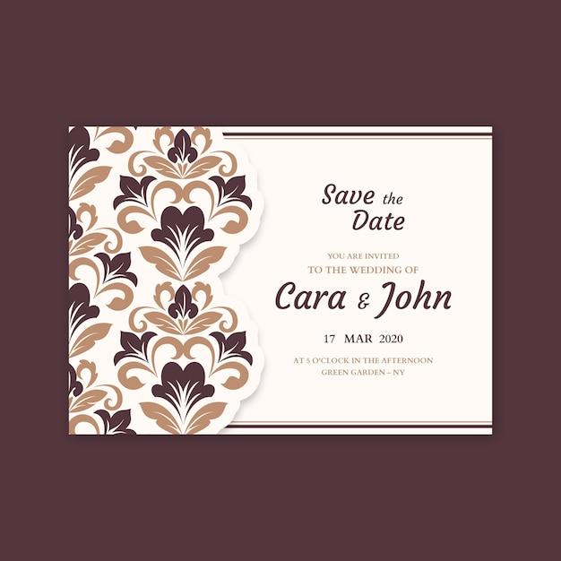 Template damask elegant wedding invitation Free Vector