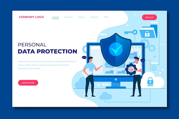 Template for data protection landing page Premium Vector