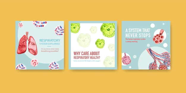 Template design ads with human anatomy of lung and respiratory,oxygen Free Vector