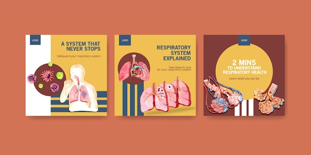 Template design ads with human anatomy of lung and respiratory Free Vector