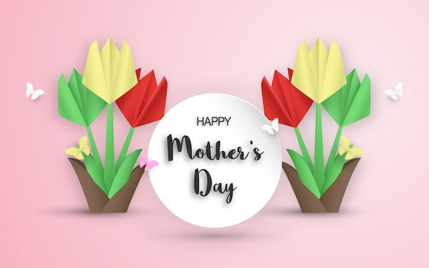 Template design for happy mother's day. vector illustration in paper cut and craft style. Premium Vector
