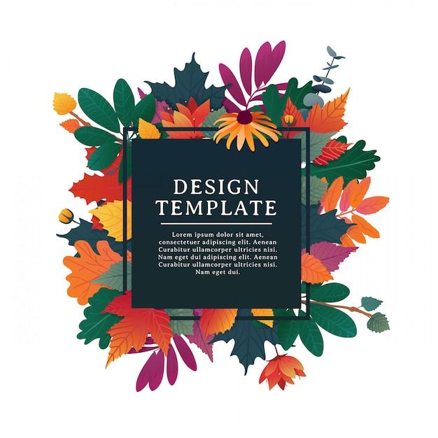흰색 프레임과 허브 가을 시즌 템플릿 디자인 사각형 배너. 프리미엄 벡터
