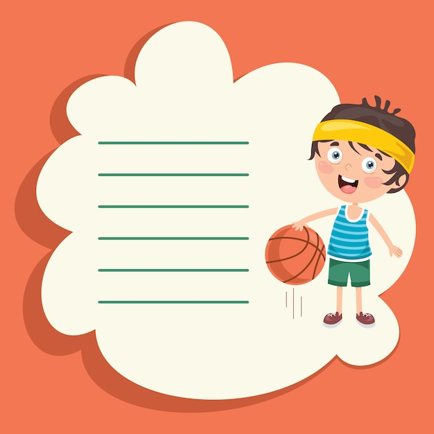 Template design with cute cartoon character making sport Premium Vector