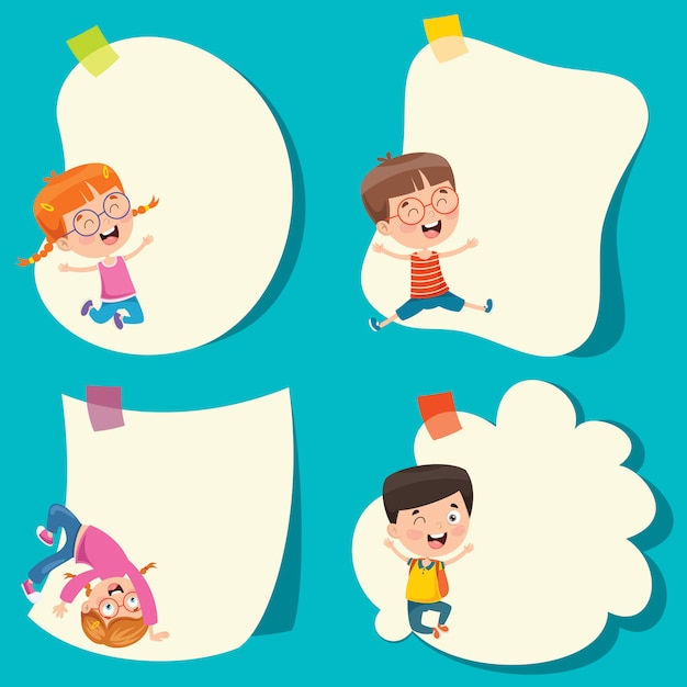 Template design with cute cartoon characters Premium Vector