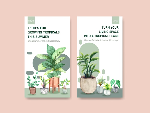 Template design with summer plant and house plants for social media, online community, internet and advertise watercolor illustration Free Vector