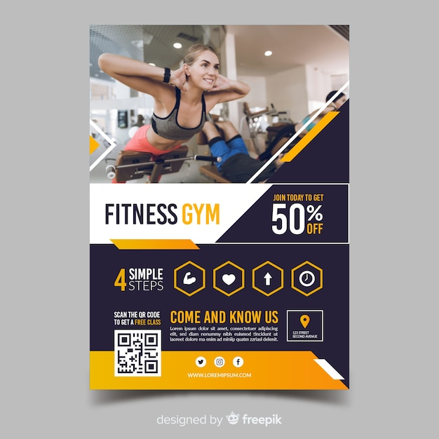 Template fitness gym sport flyer Free Vector