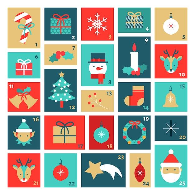 Template flat design advent calendar Free Vector