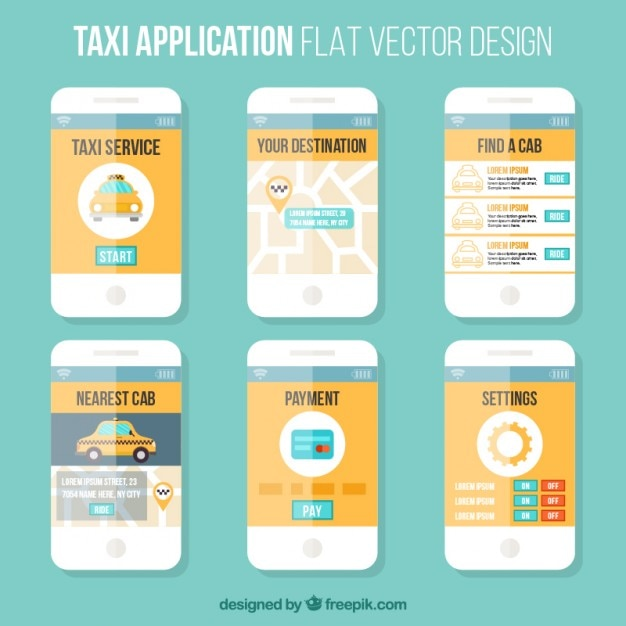 Template flat style of a mobile application for taxis Free Vector