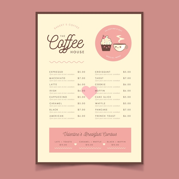 Template flat valentine's day menu Free Vector