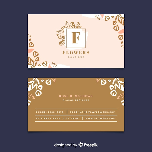 Template floral with golden lines business card Free Vector
