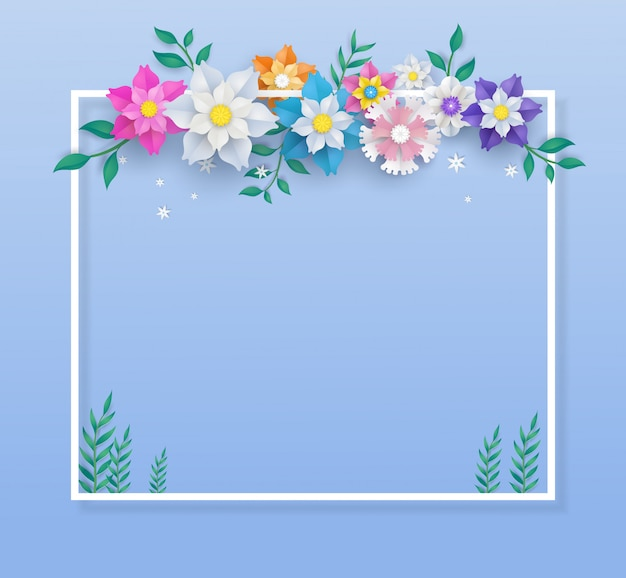 Template in flower paper cut design and square frame. Premium Vector