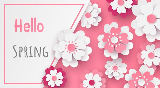 Template in flower paper cut design and text in the frame. Premium Vector