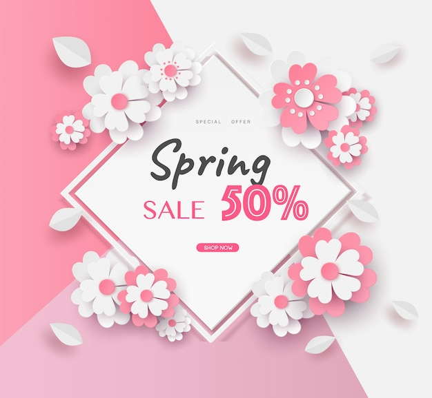 Template in flower paper cut design and text promotion in square frame. Premium Vector