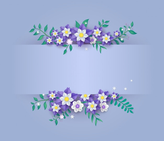 Template in flower paper cut design. Premium Vector