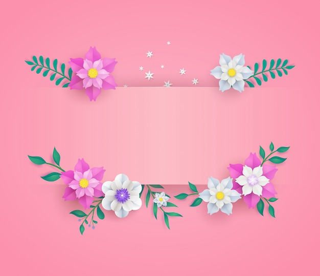 Template in flower paper cut design. Premium Vector