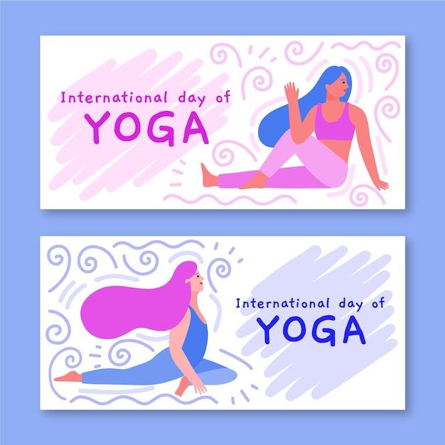 Шаблон для баннеров с международным днем йоги Бесплатные векторы