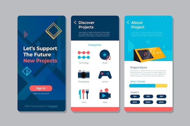 クラウドファンディングアプリのインターフェースのテンプレート 無料ベクター