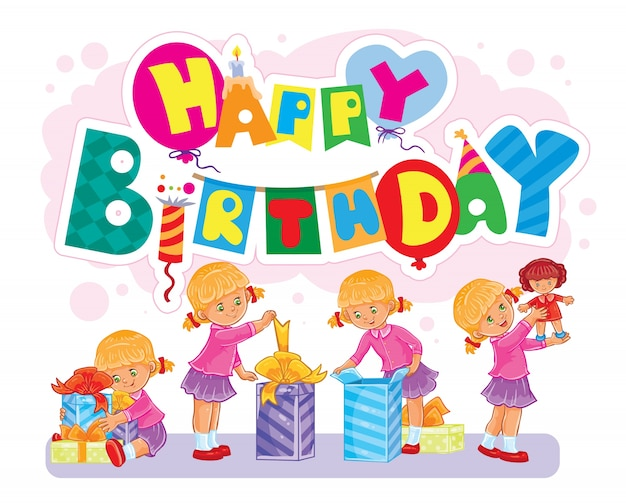 Template for Happy Birthday greeting card Vector – Happy Birthday Greeting Photo