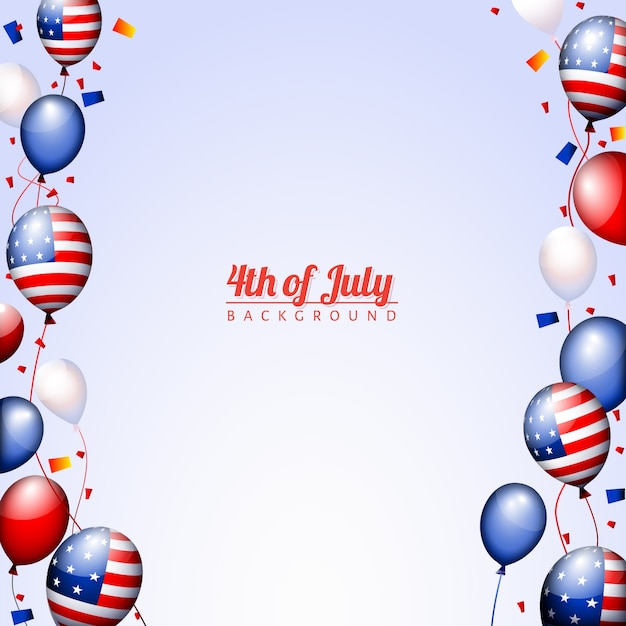 Template for independence day with\ balloons
