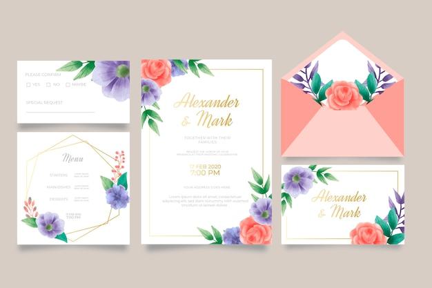 結婚式の招待状とメニューのテンプレート 無料ベクター