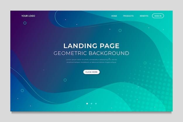 Template geometric minimal landing page Free Vector