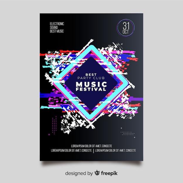 Шаблон с эффектом глюка электронной музыки постер Бесплатные векторы