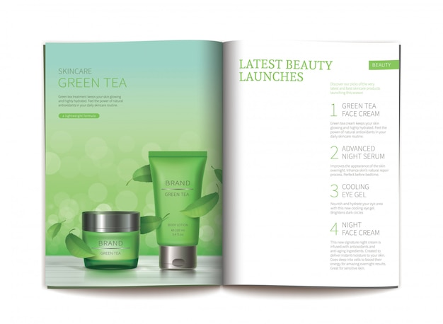 Template for glossy cosmetic magazine. Free Vector