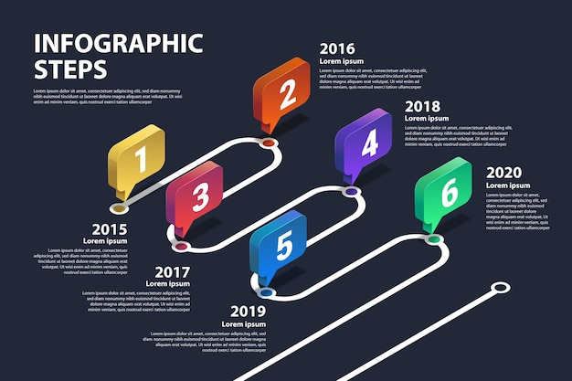 Template gradient timeline infographic Free Vector