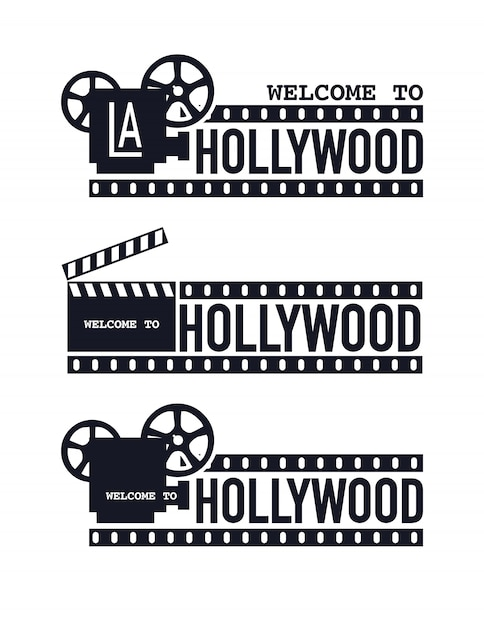 Template grunge cinema logo, welcome to hollywood. Premium Vector
